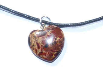 Leopard jasper heart pendant on leather cord.