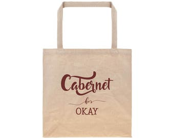 Beach Tote Engagement Gifts for Her Reusable Grocery Bag Canvas Tote Bag Cotton Tote Bag Wine Typography