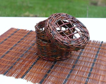 Wicker basket with a lid Storage basket Woven box Wicker basket Gift Willow handwoven basket Lidded basket Farmhouse rustic Basket purse