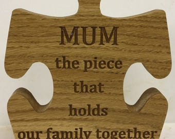 Carved Jigsaw mother quote carved nam and grandad