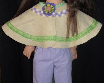 """Leather looking shawl /cape fits most 18"""" american dolls"""