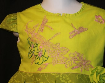 HAND EMBROIDERED! Green Dragonfly Dress