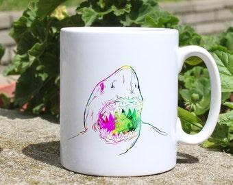 White shark mug - Sea mug - Colorful printed mug - Tee mug - Coffee Mug - Gift Idea