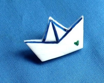 Ship. Hand painted brooch.