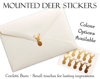 Mounted Deer Stickers - Rustic Party - Baby Shower - Removable Vinyl - Party Invitations - Envelope Sealing Stickers - Planner Stickers #32