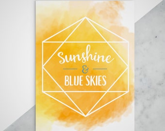 Sunshine & Blue Skies Print - Printable - INSTANT DOWNLOAD - Yellow Watercolor Art - LI Decor Poster