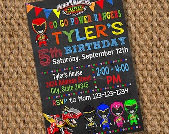 Power Rangers Birthday, Power Ranger Invitation, Power Ranger Party, Power Rager Birthday Invitation, Power Ranger Printable, Power Ranger