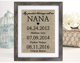 Personalized Nana Gift, Christmas Gift for Grandmother, My Greatest Blessings Call Me Nana, Grandchildren Name Wall Art, Grandma Gift