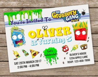 The Grossery Gang Invitation,  Grossery Gang Birthday,  Grossery Gang Party Invitation,  The Grossery Gang Theme Party, Personalized