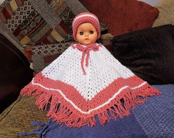 Crocheted Poncho and Hat - Different Colours available