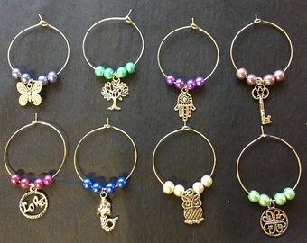 Wine Glass Charms - set of 8
