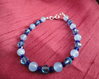Sterling Silver Brazilian Aquamarine Bracelet Swarovski Bicone Crystal Semi Precious Gemstone - B49S