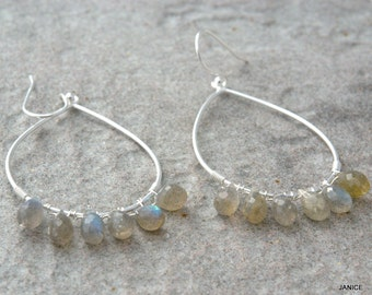 Sterling silver earrings with rainbow moon stones
