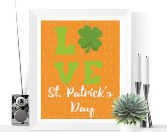 LOVE St. Patrick's Day Printable | St. Patrick's Day Decoration | St. Patty's Day | Printables| St. Patrick's Day Decorations