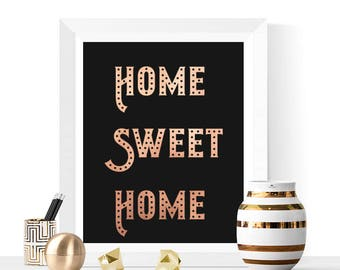 Home Sweet Home Printable | Rose Gold and Black | Home Prints | Home Decor | Typographic Print | Rose Gold Prints | Glam Art
