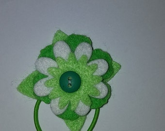 Green and white hair flower