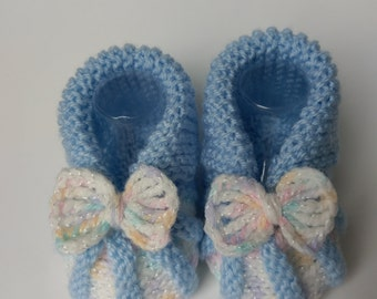 Blue Baby Booties with Bow