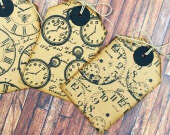 Clocks Scrapbook Tags Set, Gift Tags, Vintage Style Hang Tags, Journaling Tags, Scrapbook Tags, Merchandise Tags, Loaded Envelope,Snail Mail