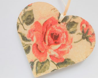 Decoupage Heart, Decorative Hanging Heart, Heart Decor, Pink Rose Heart, Shabby Chic Heart,