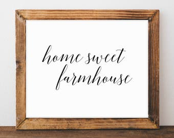 Wall Decor, Farmhouse Style Chic, Fixerupper Style, Home Sweet Home, Family Room Décor, Instant Download, Gift for Her, Printable Art