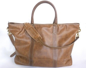 Leather Tote Weekend Bag