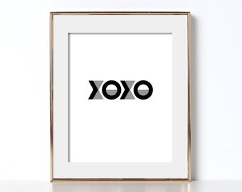 Gift for Girlfriend Gift for Sister Digital Download XOXO Poster XOXO Print Love Poster Love Printable Art Black and White Print Typography