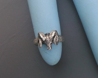 Sterling Silver Rams Head Ring