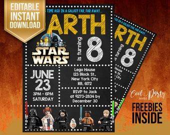Lego Star Wars invitation, Lego Star Wars birthday invitation, Lego birthday invitation, Star Wars editable, Lego Star Wars, Lego