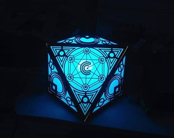 "Sacred Polygonal night lamp ""Oracle"" with fully customizable patterns"