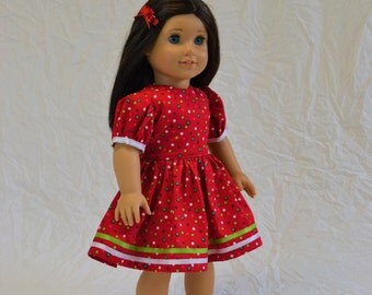 """red polka dot party dress for 18"""" doll"""