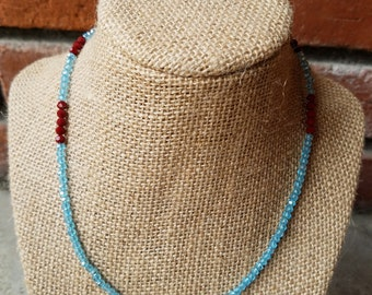 Aqua and Red Faceted Crystal Necklace