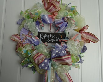 Easter Wishes Ribbon Wreath