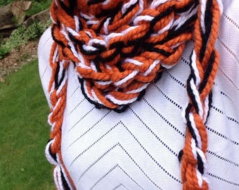Hand crocheted scarflace, scarf, necklace, Baltimore Orioles, orange, white, black, graduation, gift, accessory, tassels, ready to ship