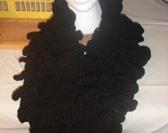 Crocheted Black Ruffled Scarf