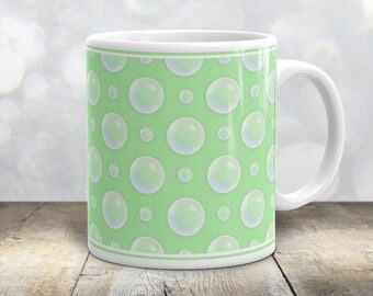 Green Bubble Polka Dot Mug - Pattern Illustrated Bubbles over Light Green - 11oz or 15oz Mug