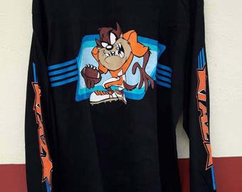 TAZMANIA 90s longsleeve large size shirt hip hop rappers swag looney tunes mickey mouse butt head