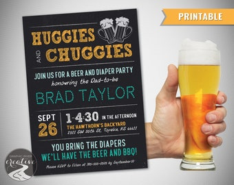 PRINTABLE Personalized Huggies and Chuggies Dad Diaper Party Invitation, Beer & BBQ Diaper Party Invite, Father Dad Man Shower, Digital File