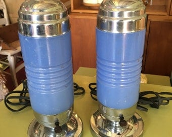 Blue Art Deco Table Lamps