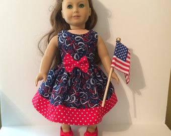 SALE 18 Inch Doll Clothes Spring  4th of July Dress  With Patriotic Ribbons Optional Red Mary Janes Fits Like American Girl Doll Clothes