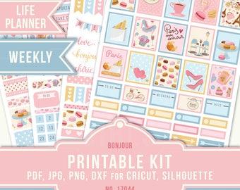Printable Vertical, Paris Planner Stickers, Printable Planner Sticker, Printable Stickers, Erin Condren Planner, Weekly Sticker, 17044