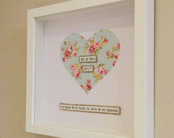 Mr & Mrs memory Frame - Wedding gift - to have and to hold, to love and to Cherish