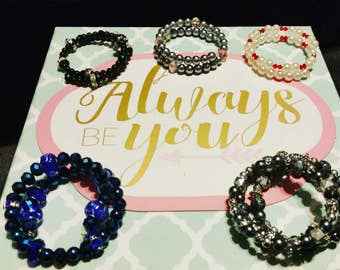 Hand-made memory wire beaded bracelets