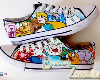 Adventure Time custom canvas shoes handpainted customized