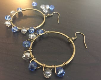 Blue bead Hoop Earrings