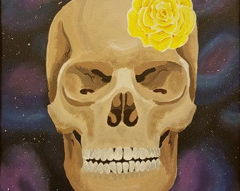 "Original Acrylic Painting - ""Galactic Skeleton Skull Part 2"" - Unique Acrylic Art on 11x14 canvas"