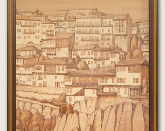 "Art pyrography picture on wood ""Old town"". Wood picture. Wood art. Wall art. Woodburning picture."
