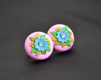 Pink floral stud earrings