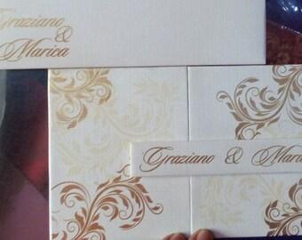 50 Silk Gate Folio Wedding Invitations Pocket Fold Satin Invitations Laser Cut Acrylic Invitations