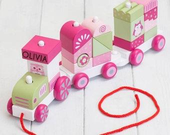 Personalised Pink Wooden Building Blocks Train