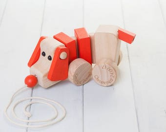 Personalised Childrens Pull Along Wooden Dog